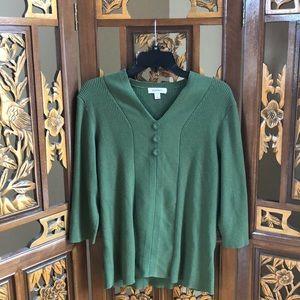 Dressbarn Moss Green 3/4 Sleeve Sweater Size 2X